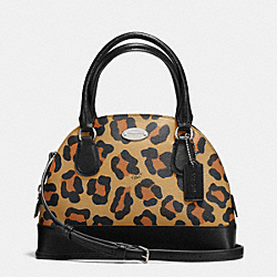 MINI CORA DOMED SATCHEL IN OCELOT PRINT COATED CANVAS - f36219 - IMITATION GOLD/NEUTRAL