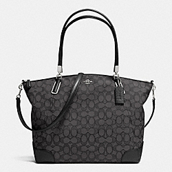 COACH F36220 - KELSEY SATCHEL IN SIGNATURE  SILVER/BLACK SMOKE/BLACK