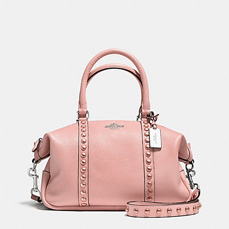 COACH f36306 CENTRAL SATCHEL IN LACQUER RIVETS PEBBLE LEATHER SILVER/BLUSH