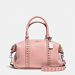 CENTRAL SATCHEL IN LACQUER RIVETS PEBBLE LEATHER - f36306 - SILVER/BLUSH