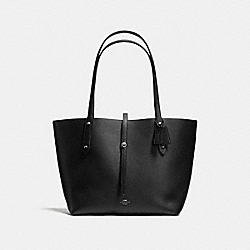 COACH F36315 Market Tote In Pebble Leather With Wild Beast Print BLACK ANTIQUE NICKEL/BLACK