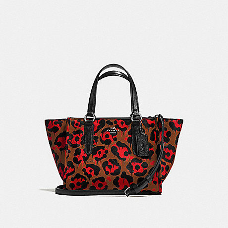 COACH f36321 MINI CROSBY CARRYALL WITH LEOPARD OCELOT PRINT ORANGE WILD BEAST/BLACK ANTIQUE NICKEL