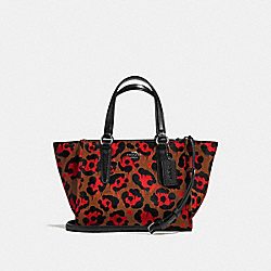 MINI CROSBY CARRYALL WITH LEOPARD OCELOT PRINT - f36321 - ORANGE WILD BEAST/BLACK ANTIQUE NICKEL