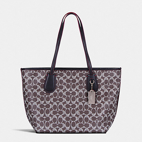 COACH f36359 COACH TAXI ZIP TOTE IN SIGNATURE LIGHT GOLD/SADDLE/BLACK