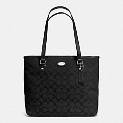 COACH ZIP TOP TOTE IN SIGNATURE - SILVER/BLACK/BLACK - F36375