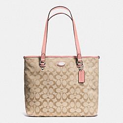 COACH F36375 Zip Top Tote In Signature SILVER/LIGHT KHAKI/BLUSH