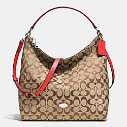 CELESTE CONVERTIBLE HOBO IN SIGNATURE CANVAS - f36377 -  SILVER/KHAKI/CARDINAL