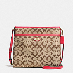 COACH F36378 - FILE BAG IN SIGNATURE IMITATION GOLD/KHAKI/CLASSIC RED