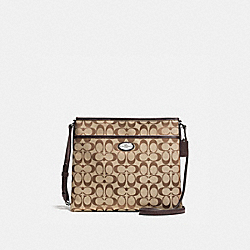 COACH F36378 File Bag In Signature SILVER/KHAKI/MAHOGANY