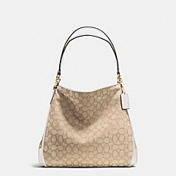PHOEBE SHOULDER BAG IN OUTLINE SIGNATURE - f36424 - IMITATION GOLD/LIGHT KHAKI/CHALK