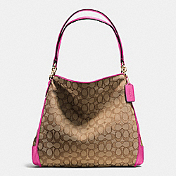 PHOEBE SHOULDER BAG IN OUTLINE SIGNATURE - f36424 - IMITATION GOLD/KHAKI/DAHLIA