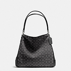 COACH F36424 - PHOEBE SHOULDER BAG IN OUTLINE SIGNATURE SILVER/BLACK SMOKE/BLACK