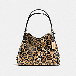 COACH EDIE SHOULDER BAG 31 IN POLISHED PEBBLE LEATHER WITH WILD BEAST PRINT - LIGHT GOLD/WILD BEAST - F36453