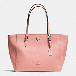 TURNLOCK TOTE IN CROSSGRAIN LEATHER - f36454 - SILVER/BLUSH