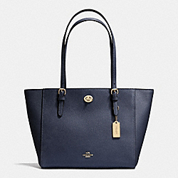 TURNLOCK SMALL TOTE IN CROSSGRAIN LEATHER - f36455 - LIGHT GOLD/NAVY
