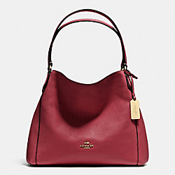 COACH EDIE SHOULDER BAG 31 IN PEBBLE LEATHER - LIGHT GOLD/BLACK CHERRY - F36464