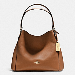 COACH EDIE SHOULDER BAG 31 IN REFINED PEBBLE LEATHER - LIGHT GOLD/SADDLE - F36464
