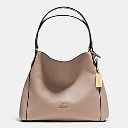 COACH EDIE SHOULDER BAG 31 IN REFINED PEBBLE LEATHER - LIGHT GOLD/STONE - F36464