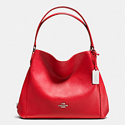 COACH F36464 - EDIE SHOULDER BAG 31 IN REFINED PEBBLE LEATHER SILVER/TRUE RED