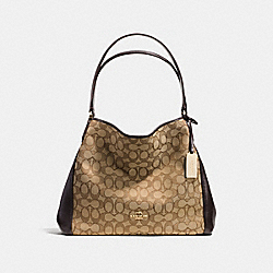 EDIE SHOULDER BAG 31 IN SIGNATURE JACQUARD - f36466 - LIGHT GOLD/KHAKI