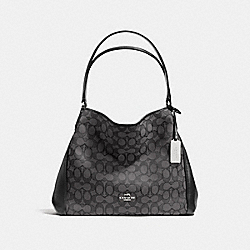 EDIE SHOULDER BAG 31 IN SIGNATURE JACQUARD - f36466 - SILVER/BLACK SMOKE