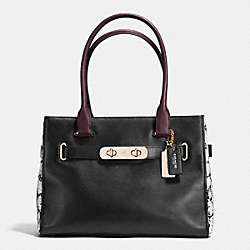 COACH F36498 - COACH SWAGGER CARRYALL IN COLORBLOCK EXOTIC EMBOSSED LEATHER LIGHT GOLD/BLACK