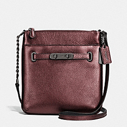 COACH F36502 - COACH SWAGGER SWINGPACK IN METALLIC PEBBLE LEATHER BLACK ANTIQUE NICKEL/METALLIC CHERRY