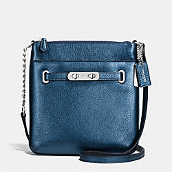 COACH F36502 - COACH SWAGGER SWINGPACK IN METALLIC PEBBLE LEATHER SILVER/METALLIC BLUE