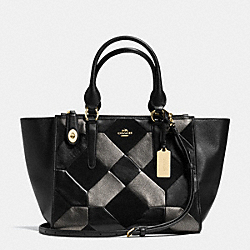 CROSBY CARRYALL IN PATCHWORK LEATHER - f36531 - LIGHT GOLD/BLACK