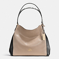 EDIE SHOULDER BAG 31 IN COLORBLOCK EXOTIC EMBOSSED LEATHER - f36551 - LIGHT GOLD/STONE