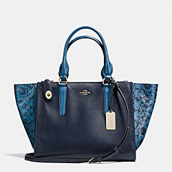 CROSBY CARRYALL IN COLORBLOCK EXOTIC EMBOSSED LEATHER - f36571 - LIGHT GOLD/NAVY