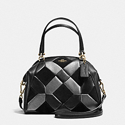 PRAIRIE SATCHEL IN PATCHWORK LEATHER - f36580 - LIGHT GOLD/BLACK