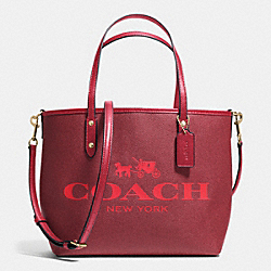 COACH F36588 Small Metro Tote In Coated Canvas IMITATION GOLD/RED