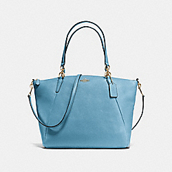 COACH F36591 Kelsey Satchel In Pebble Leather IMITATION GOLD/BLUEJAY