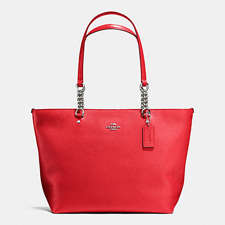 COACH f36600 SOPHIA TOTE IN PEBBLE LEATHER SILVER/TRUE RED
