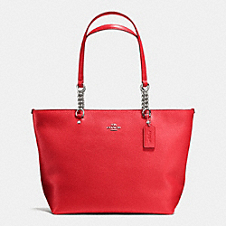 SOPHIA TOTE IN PEBBLE LEATHER - f36600 - SILVER/TRUE RED