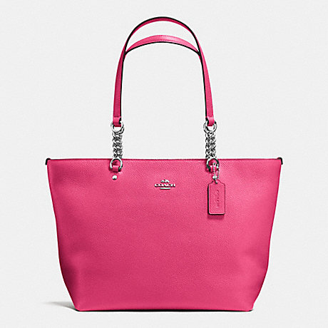 COACH f36600 SOPHIA TOTE IN PEBBLE LEATHER SILVER/DAHLIA