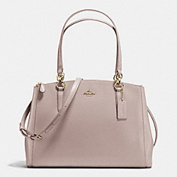 COACH F36606 - CHRISTIE CARRYALL IN CROSSGRAIN LEATHER IMITATION GOLD/GREY BIRCH