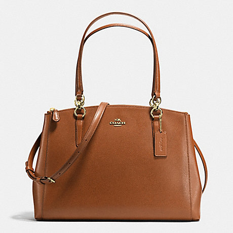 COACH F36606 CHRISTIE CARRYALL IN CROSSGRAIN LEATHER IMITATION-GOLD/SADDLE