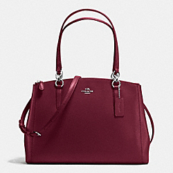 COACH F36606 - CHRISTIE CARRYALL IN CROSSGRAIN LEATHER SILVER/BURGUNDY