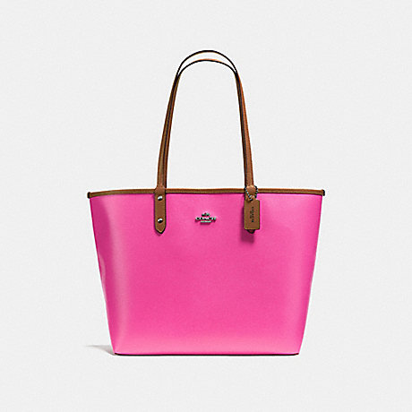 COACH F36609 REVERSIBLE CITY TOTE IN COATED CANVAS BLACK-ANTIQUE-NICKEL/BRIGHT-FUCHSIA