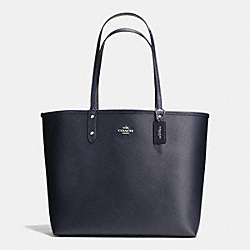COACH F36609 Reversible City Tote In Coated Canvas SILVER/MIDNIGHT/SLATE
