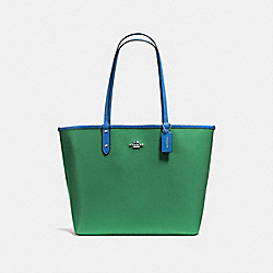 REVERSIBLE CITY TOTE IN COATED CANVAS - f36609 - SILVER/JADE