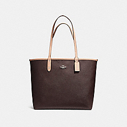 REVERSIBLE CITY TOTE IN COATED CANVAS - f36609 - SILVER/OXBLOOD