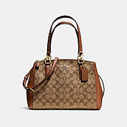 COACH F36619 Small Christie Carryall In Signature IMITATION GOLD/KHAKI/SADDLE