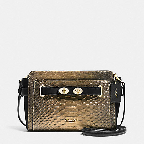 COACH f36623 BLAKE CROSSBODY IN METALLIC EXOTIC EMBOSSED LEATHER IMITATION GOLD/GOLD/BRONZE