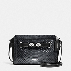 COACH F36623 - BLAKE CROSSBODY IN METALLIC EXOTIC EMBOSSED LEATHER SILVER/BLACK/GUNMETAL
