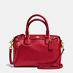 COACH F36624 Mini Bennett Satchel In Crossgrain Leather IMITATION GOLD/TRUE RED