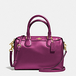COACH F36624 Mini Bennett Satchel In Crossgrain Leather IMITATION GOLD/FUCHSIA