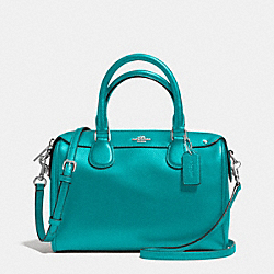 MINI BENNETT SATCHEL IN CROSSGRAIN LEATHER - f36624 - SILVER/TURQUOISE
